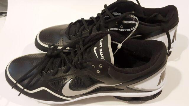 NIKE Shox Gamer 15 Men's Baseball Shoes Metal cleats Black White Big Tall