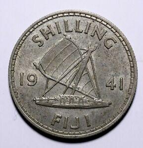 1941-Fiji-One-1-Shilling-George-VI-Lot-661-Key-Date