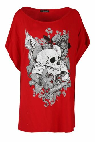Womens Baggy Ladies Batwing Lagenlook Halloween Skull Teeth Scary T Shirt Top