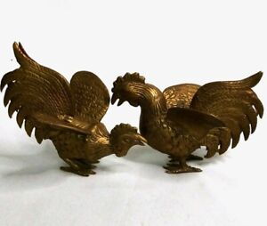 Vintage-Brass-Fighting-Roosters-Set-of-2-Lot-Mid-Century-Pair-Cocks-Birds-MCM