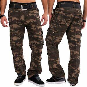 Herren-Cargo-Jeans-Camouflage-Cargohose-Work-Trousers-Tarnmuster-Baumwolle
