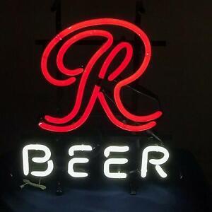 "New Rainier Big R Beer Cerveza Bar Pub Light Lamp Neon Sign 17/""x14/"" Artwork"