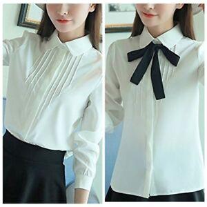 79b9b7dcfe82 Women's Lolita Peter Pan Collar Button Blouse Bowknot Long sleeve ...