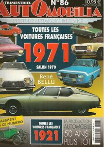 AUTOMOBILIA-86-TOUTES-LES-VOITURES-FRANCAISES-1971-SALON-1970-et-1921