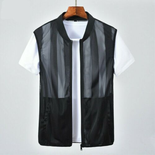 Hommes Bande Maille Sans Manches See-Through Veste sans manches Gilet Vest Tops Shirt Tee