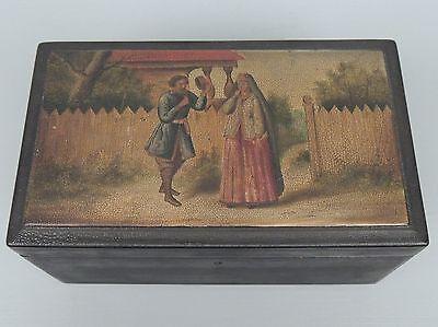Antique 19th Century Russian Lacquer Tea Caddy /Box - Estate - Papier Mache - VR