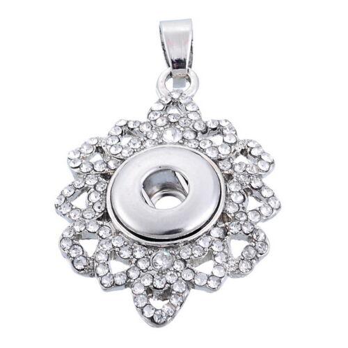 Nuevo Mini 1PC Snap Colgante ajuste Snap Botón de Diamantes de Imitación Metal Hazlo tú mismo