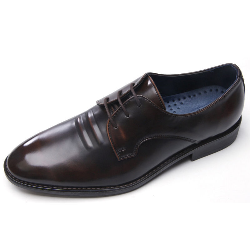 Men's synthetic leather double wrinkle open lacing oxfords brown