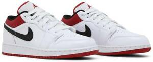 Nike Air Jordan 1 Low White Gym Red Black 553560-118 GS Size 3.5Y-7Y Brand New