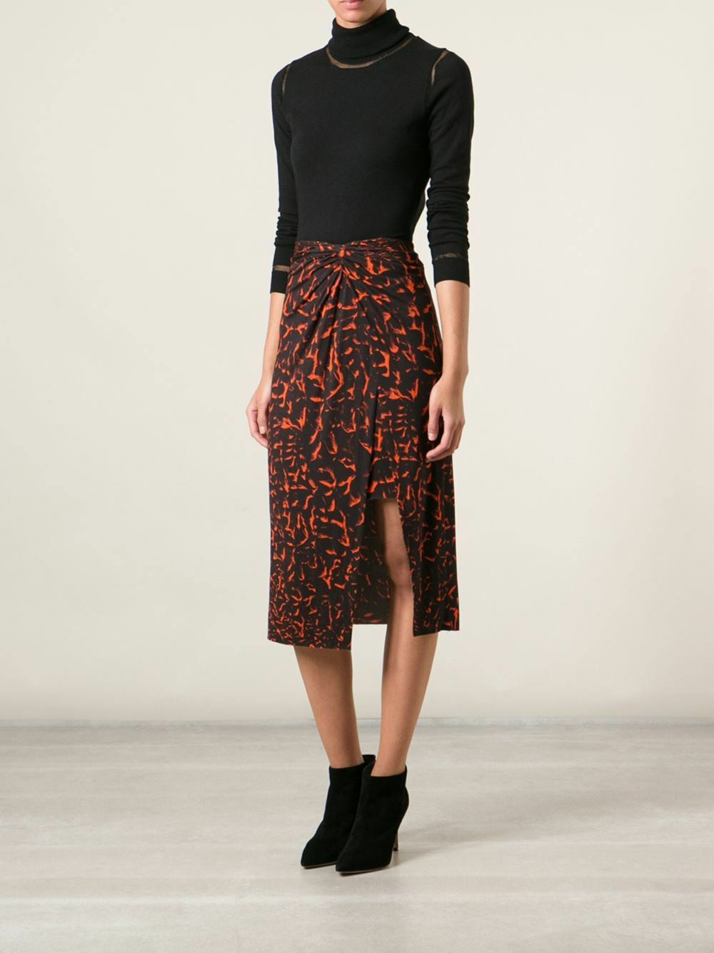 265 New HELMUT LANG TWIST KNOT Printed Twisted Knot Skirt P XS