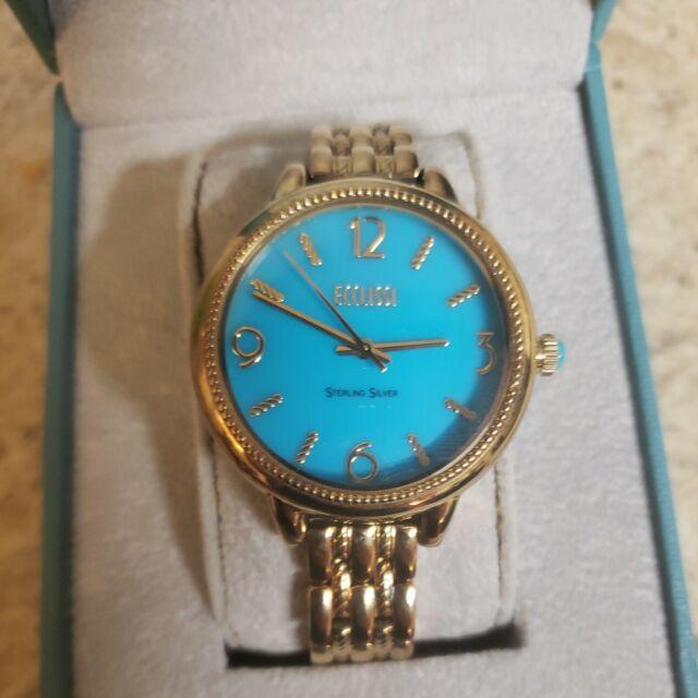 ECCLISSI Womens Sterling Silver Turquoise Watch Bracelet Quartz SLEEPING BEAUTY