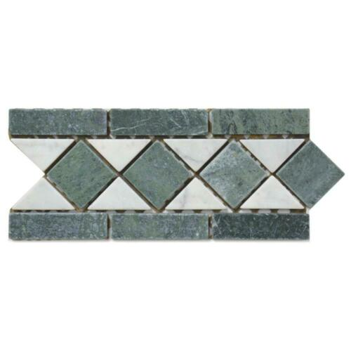 Bordüre Nr.2 Bianco Carrara Verde Guatamala grün grau 12,5 x 30 cm Naturstein