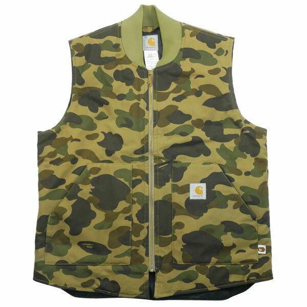 A BATHING APE Carhartt 1st monkey camouflage pattern vest Grün L