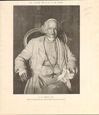 Portrait Pape Léon Leone Pope Leo Vatican XIII FRANCE GRAVURE OLD PRINT 1902