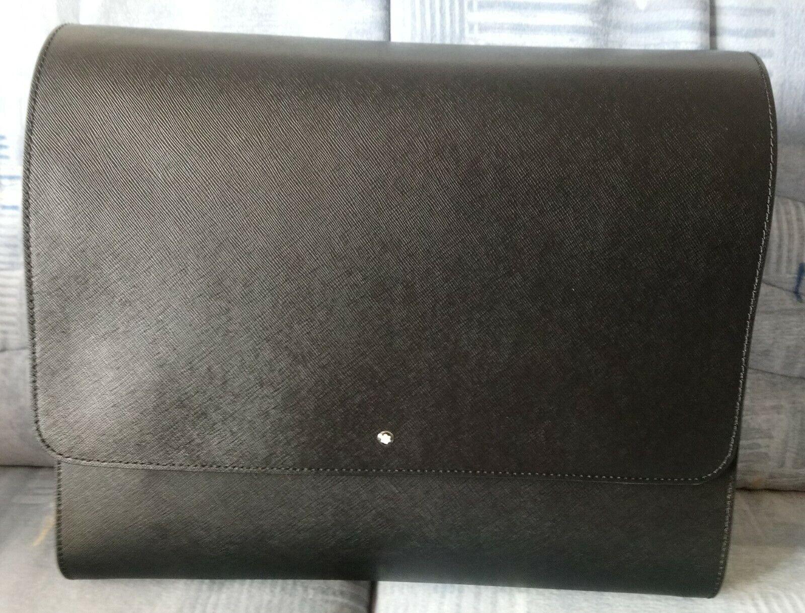 * NEW * BOXED MONTBLANC 35x26x10 College Binder Sartorial Messenger Bag Leather Bag