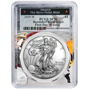 2019-W Burnished $1 American Silver Eagle PCGS SP70 FDOI West Point Frame