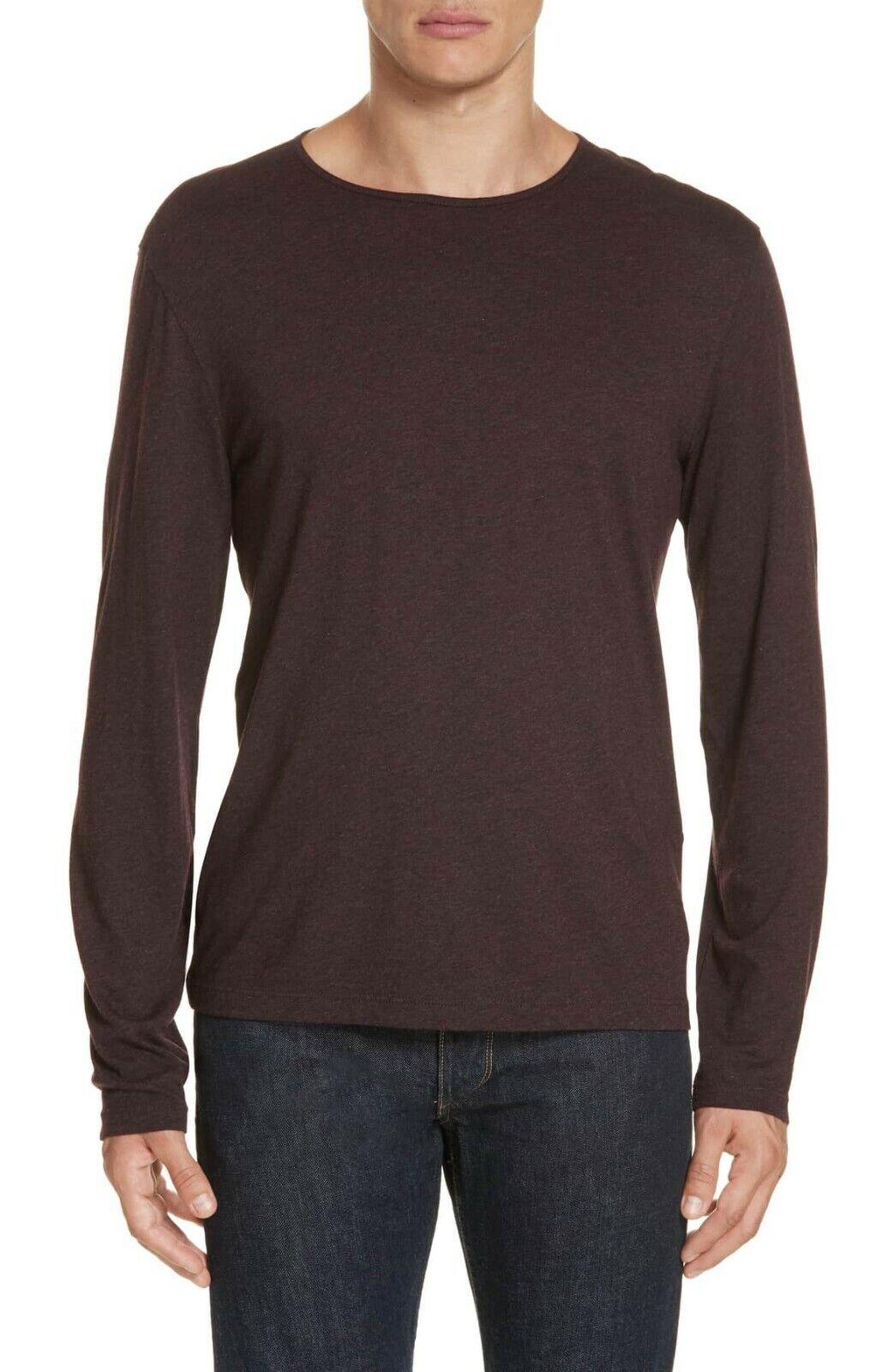 John Varvatos Collection Men's Port Red Cotton Modal Crew Long Sleeve Shirt