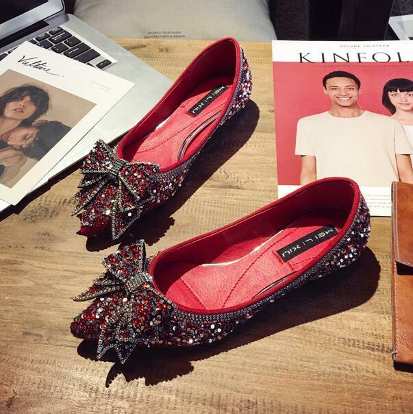 Donna Rhinestones Bowknot Pointed Toe Flats Scarpe Slip On Loafers Wedding Party
