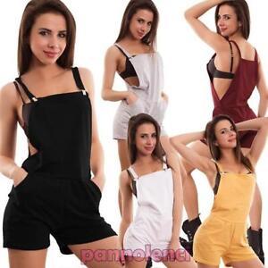 ef3ad581a36f Detalles de Peto Mujer Total Pelele Todo Pantalones Cortos Shorts Sexy  Nueva Cr-1584