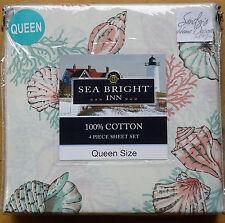 Coastal SEASHELL Coral 4p QUEEN SHEET SET Green Cream 100% COTTON Sea Bright Inn