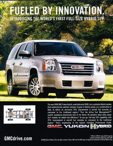 innovation 2008 GMC Yukon Hybrid Vintage Advertisement Ad A34-B