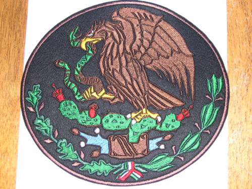 MEXICO COAT OF ARMS CREST FLAG MEXICAN BIKER BLACK SEW-ON BACK PATCH LARGE 12 in