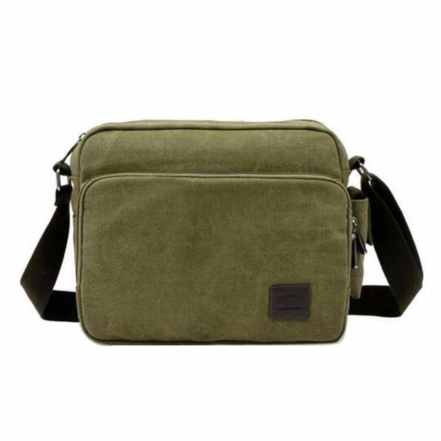 ee2fa6b321a Men Vintage Shoulder Messenger Bag Canvas Satchel School Military Crossbody  Bags Green
