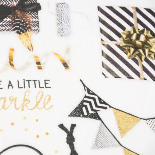 Tela de toalla tela decorativa impresión digital fiesta de regalos de oro blanco de colores NEGR