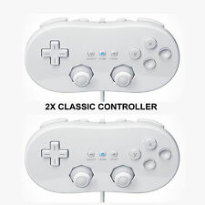 2X NEW WHITE CLASSIC CONTROLLER FOR NINTENDO WII & U CONSOLE +WARRANTY+UK SELLER