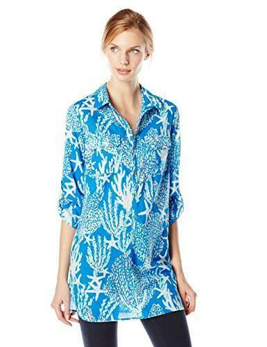 New Lilly Pulitzer Captiva Tunic Brewster bluee Good Reef Starfish xs s