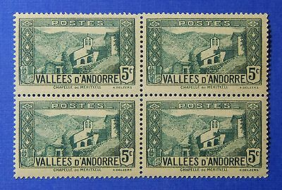 Practical 1932 Andorra French 5c Scott# 26 Michel # 27 Unused Block Nh Cs26237 Grade Products According To Quality Andorra Stamps