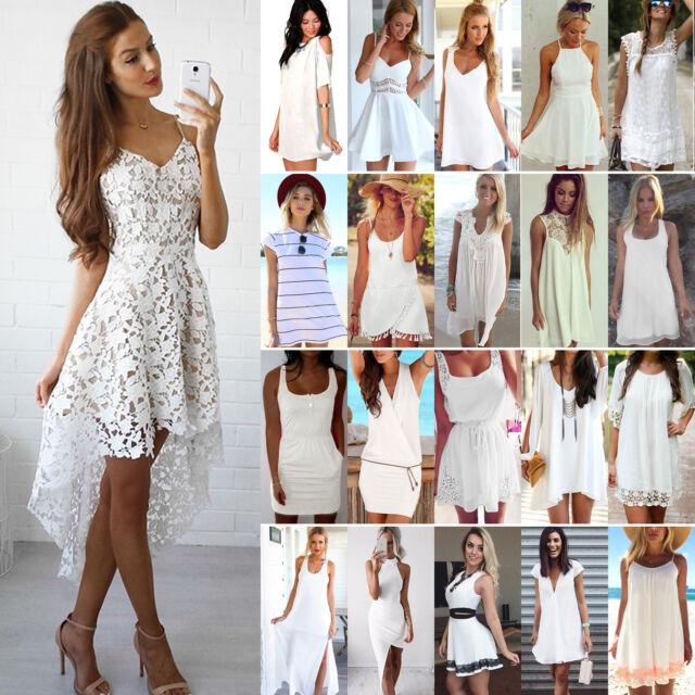 Womens White Short Mini Dress Casual Beach Boho Summer Evening Party Sundress