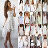 WHITE Womens Summer Short Mini Dress Casual Beach Holiday Evening Party Sundress