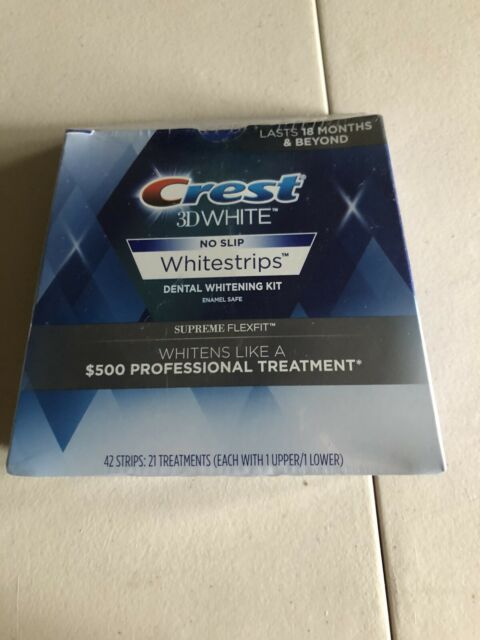 Crest 3D White No Slip Supreme Flexfit Teeth Whitening Strips. 42 Count.Exp-2021