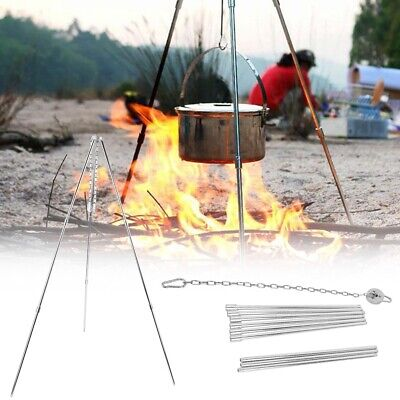 Grill Tripod Outdoor Camping Campfire Holder Camp Picnic Cooking Pot 6A