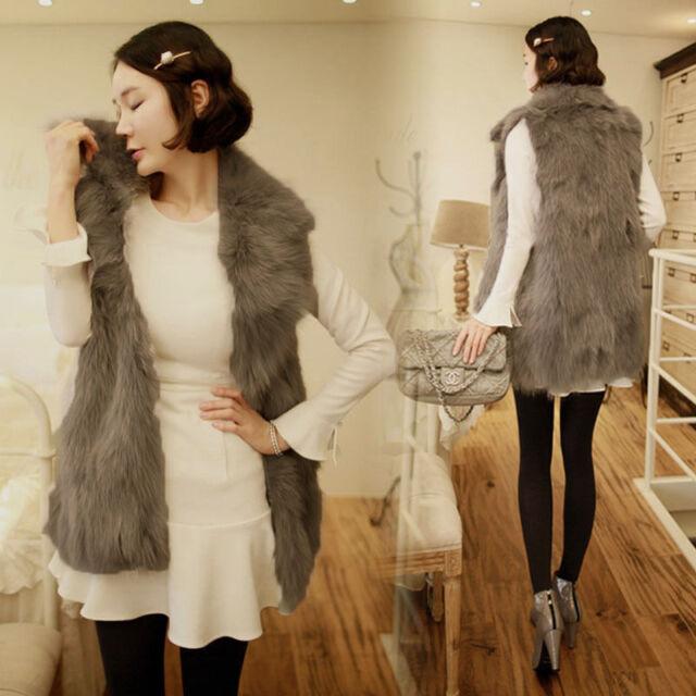 Womens Winter Warm Faux Fur Long Vest Jacket Coat Waistcoat NEW Fashion Gilet