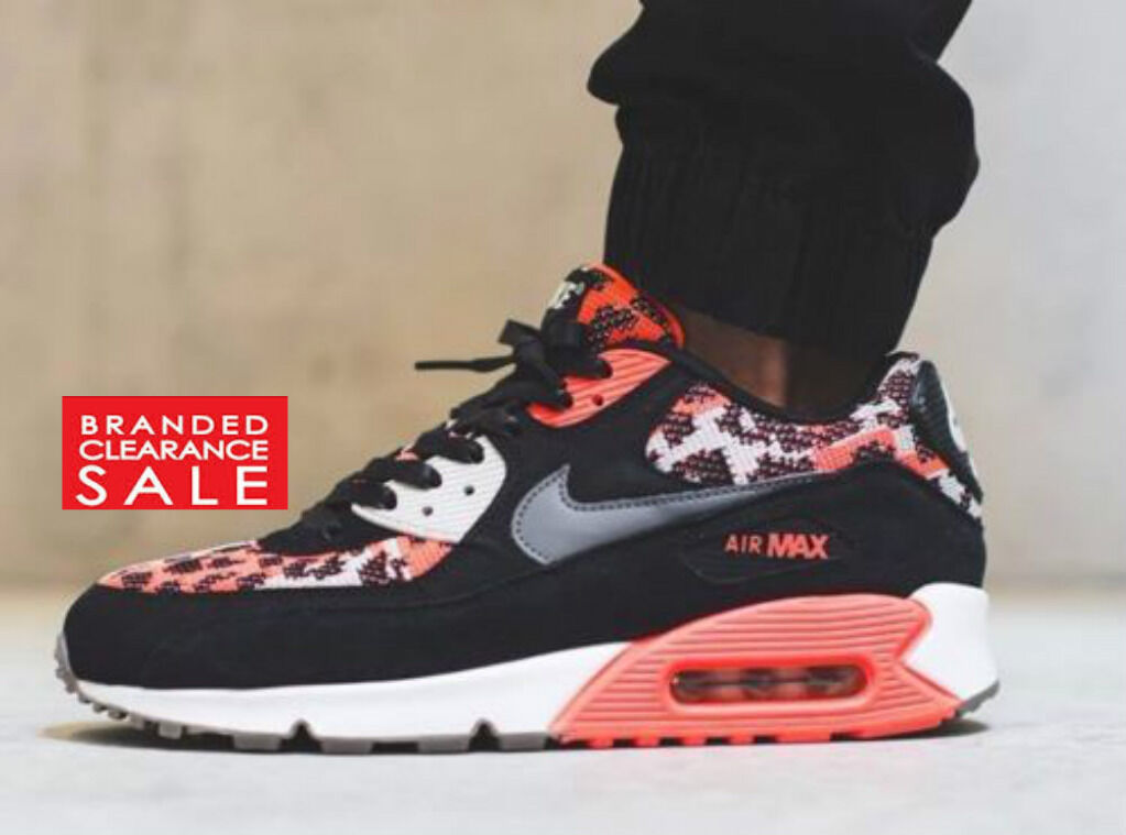 BNIB New Men Nike Air Max 90 PA Trainers Black Orange Hot Lava Infrared 6 7 8 9