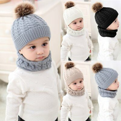 2Pcs Baby Boy Knit For Girl Winter Hat Toddler Kid Warm Beanie Crochet Cap+ Scarf 45314664a89b
