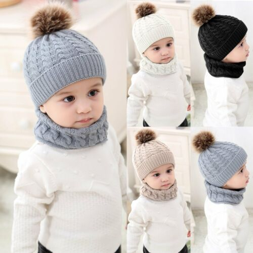 Toddler Kids Girl/&Boy Baby Infant Winter Warm Crochet Knit Hat Neckerchief