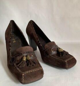 Unisa-brown-Suede-Leather-3-High-Heel-Tasselled-Loafer-Rubber-Soles-Size-UK-4