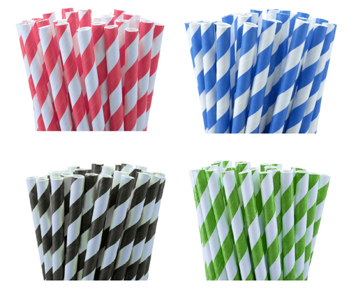 1000 Biodegradable Paper Drinking Straws Mix Colour Cafe Take Away Environment