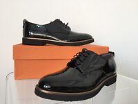 $375 Agl 'parker' Oxford Black Patent Leather Flat Loafer Shoes, Eu 37.5