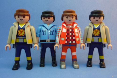 Playmobil J-6 City Action 4x Figures Fire Police Paramedic Job Lot