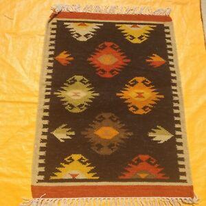 Hand-Woven-Wool-Rug-Turkish-Kilim-Dhurrie-Persian-Oriental-Area-Rug-2-039-X3-039-ft