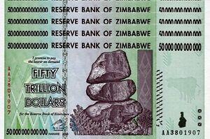 MONEY CURRENCY *USA SELLER* 10 50 100 20 TRILLION ZIMBABWE DOLLAR uncirculated