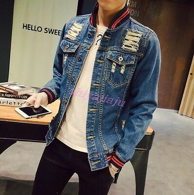 9cc7dacb6b2 Newest Men s Fashion Ripped Hole Patch Jean Jacket Casual Denim Coat Plus  Size