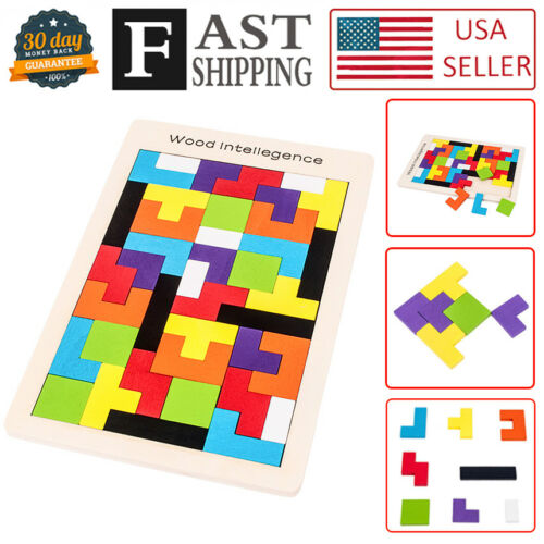 Wooden Jigsaw Tetris Russian building Blocks Kids Educational DIY Puzzle Toy
