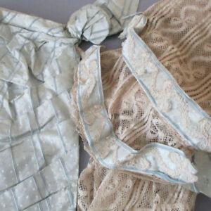 Pr Antique Edwardian LACE Sleeves Ribbon + Bows + Pale Blue SILK Remnant * DOLL
