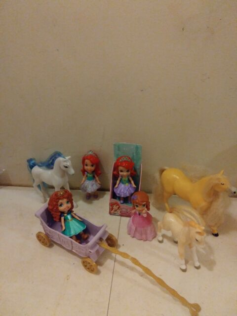 MINI TODDLER DOLL My First Disney Princess Lot of 4 dolls carriage 3 horses