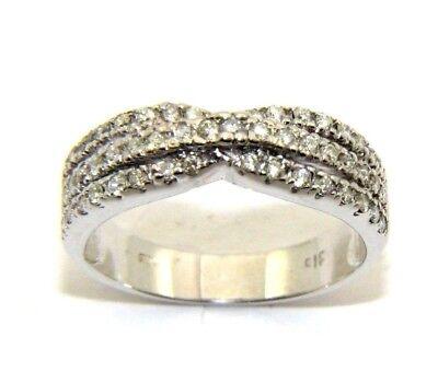 Ladies Womens 9ct 9carat White Gold Diamond Ring Uk Size O 1 2 Ebay